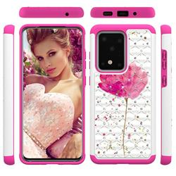 Watercolor Studded Rhinestone Bling Diamond Shock Absorbing Hybrid Defender Rugged Phone Case Cover for Samsung Galaxy S20 Ultra / S11 Plus