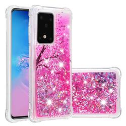 Pink Cherry Blossom Dynamic Liquid Glitter Sand Quicksand Star TPU Case for Samsung Galaxy S20 Ultra / S11 Plus