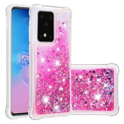 Dynamic Liquid Glitter Sand Quicksand TPU Case for Samsung Galaxy S20 Ultra / S11 Plus - Pink Love Heart