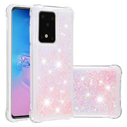 Dynamic Liquid Glitter Sand Quicksand TPU Case for Samsung Galaxy S20 Ultra / S11 Plus - Silver Powder Star