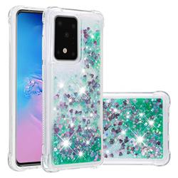 Dynamic Liquid Glitter Sand Quicksand TPU Case for Samsung Galaxy S20 Ultra / S11 Plus - Green Love Heart