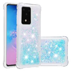 Dynamic Liquid Glitter Sand Quicksand TPU Case for Samsung Galaxy S20 Ultra / S11 Plus - Silver Blue Star