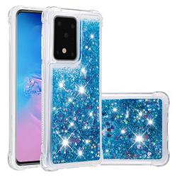Dynamic Liquid Glitter Sand Quicksand TPU Case for Samsung Galaxy S20 Ultra / S11 Plus - Blue Love Heart