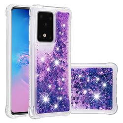 Dynamic Liquid Glitter Sand Quicksand Star TPU Case for Samsung Galaxy S20 Ultra / S11 Plus - Purple