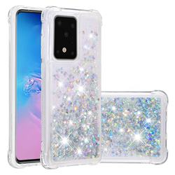 Dynamic Liquid Glitter Sand Quicksand Star TPU Case for Samsung Galaxy S20 Ultra / S11 Plus - Silver