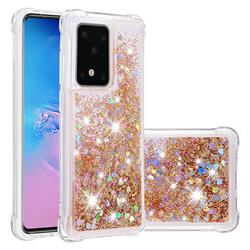 Dynamic Liquid Glitter Sand Quicksand Star TPU Case for Samsung Galaxy S20 Ultra / S11 Plus - Diamond Gold
