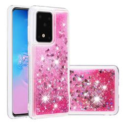 Dynamic Liquid Glitter Quicksand Sequins TPU Phone Case for Samsung Galaxy S20 Ultra / S11 Plus - Rose