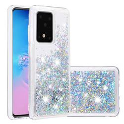Dynamic Liquid Glitter Quicksand Sequins TPU Phone Case for Samsung Galaxy S20 Ultra / S11 Plus - Silver