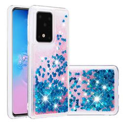 Dynamic Liquid Glitter Quicksand Sequins TPU Phone Case for Samsung Galaxy S20 Ultra / S11 Plus - Blue