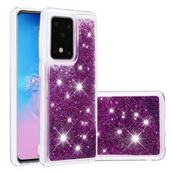 Dynamic Liquid Glitter Quicksand Sequins TPU Phone Case for Samsung Galaxy S20 Ultra / S11 Plus - Purple