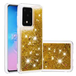 Dynamic Liquid Glitter Quicksand Sequins TPU Phone Case for Samsung Galaxy S20 Ultra / S11 Plus - Golden