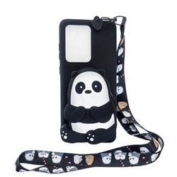 Cute Panda Neck Lanyard Zipper Wallet Silicone Case for Samsung Galaxy S20 Ultra / S11 Plus