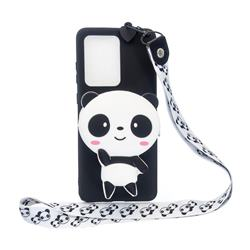 White Panda Neck Lanyard Zipper Wallet Silicone Case for Samsung Galaxy S20 Ultra / S11 Plus