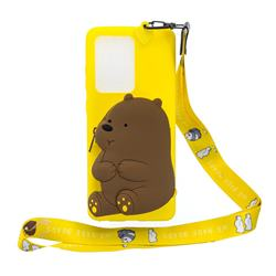 Yellow Bear Neck Lanyard Zipper Wallet Silicone Case for Samsung Galaxy S20 Ultra / S11 Plus