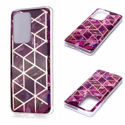 Purple Rhombus Galvanized Rose Gold Marble Phone Back Cover for Samsung Galaxy S20 Ultra / S11 Plus