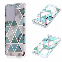 Green White Galvanized Rose Gold Marble Phone Back Cover for Samsung Galaxy S20 Ultra / S11 Plus