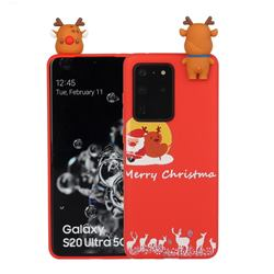 Moon Santa and Elk Christmas Xmax Soft 3D Doll Silicone Case for Samsung Galaxy S20 Ultra