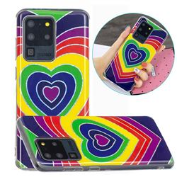 Rainbow Heart Painted Galvanized Electroplating Soft Phone Case Cover for Samsung Galaxy S20 Ultra