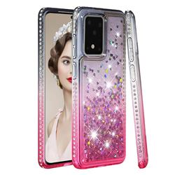 Diamond Frame Liquid Glitter Quicksand Sequins Phone Case for Samsung Galaxy S20 Ultra - Gray Pink