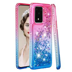 Diamond Frame Liquid Glitter Quicksand Sequins Phone Case for Samsung Galaxy S20 Ultra - Pink Blue