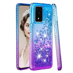 Diamond Frame Liquid Glitter Quicksand Sequins Phone Case for Samsung Galaxy S20 Ultra - Blue Purple