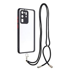 Necklace Cross-body Lanyard Strap Cord Phone Case Cover for Samsung Galaxy S20 Ultra - Black