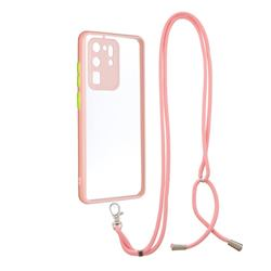 Necklace Cross-body Lanyard Strap Cord Phone Case Cover for Samsung Galaxy S20 Ultra - Pink