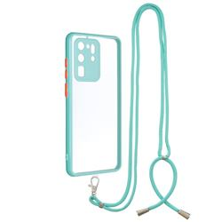 Necklace Cross-body Lanyard Strap Cord Phone Case Cover for Samsung Galaxy S20 Ultra - Blue