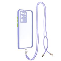 Necklace Cross-body Lanyard Strap Cord Phone Case Cover for Samsung Galaxy S20 Ultra - Purple
