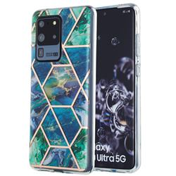 Blue Green Marble Pattern Galvanized Electroplating Protective Case Cover for Samsung Galaxy S20 Ultra