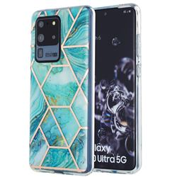 Blue Sea Marble Pattern Galvanized Electroplating Protective Case Cover for Samsung Galaxy S20 Ultra