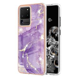 Fashion Purple Electroplated Gold Frame 2.0 Thickness Plating Marble IMD Soft Back Cover for Samsung Galaxy S20 Ultra