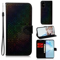 Laser Circle Shining Leather Wallet Phone Case for Samsung Galaxy S20 Ultra / S11 Plus - Black