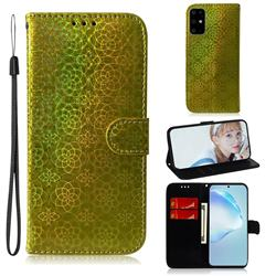 Laser Circle Shining Leather Wallet Phone Case for Samsung Galaxy S20 Ultra / S11 Plus - Golden