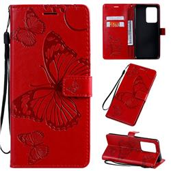 Embossing 3D Butterfly Leather Wallet Case for Samsung Galaxy S20 Ultra / S11 Plus - Red