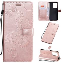Embossing 3D Butterfly Leather Wallet Case for Samsung Galaxy S20 Ultra / S11 Plus - Rose Gold