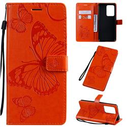 Embossing 3D Butterfly Leather Wallet Case for Samsung Galaxy S20 Ultra / S11 Plus - Orange