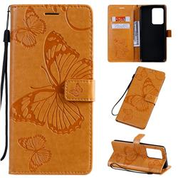 Embossing 3D Butterfly Leather Wallet Case for Samsung Galaxy S20 Ultra / S11 Plus - Yellow