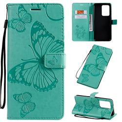 Embossing 3D Butterfly Leather Wallet Case for Samsung Galaxy S20 Ultra / S11 Plus - Green