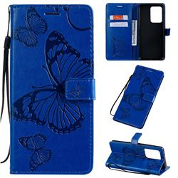 Embossing 3D Butterfly Leather Wallet Case for Samsung Galaxy S20 Ultra / S11 Plus - Blue