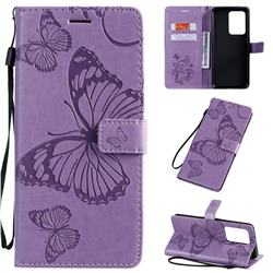 Embossing 3D Butterfly Leather Wallet Case for Samsung Galaxy S20 Ultra / S11 Plus - Purple