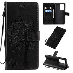 Embossing Butterfly Tree Leather Wallet Case for Samsung Galaxy S20 Ultra / S11 Plus - Black