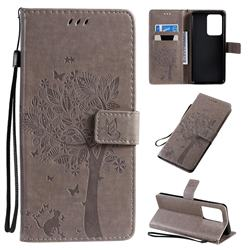 Embossing Butterfly Tree Leather Wallet Case for Samsung Galaxy S20 Ultra / S11 Plus - Grey