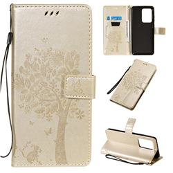 Embossing Butterfly Tree Leather Wallet Case for Samsung Galaxy S20 Ultra / S11 Plus - Champagne