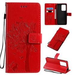 Embossing Butterfly Tree Leather Wallet Case for Samsung Galaxy S20 Ultra / S11 Plus - Red