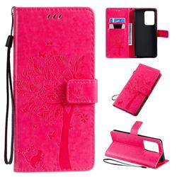 Embossing Butterfly Tree Leather Wallet Case for Samsung Galaxy S20 Ultra / S11 Plus - Rose