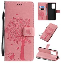 Embossing Butterfly Tree Leather Wallet Case for Samsung Galaxy S20 Ultra / S11 Plus - Pink