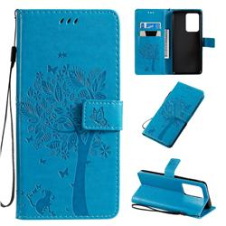 Embossing Butterfly Tree Leather Wallet Case for Samsung Galaxy S20 Ultra / S11 Plus - Blue
