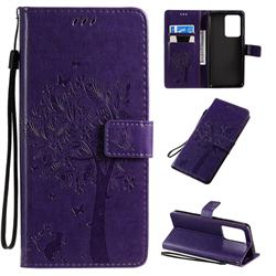 Embossing Butterfly Tree Leather Wallet Case for Samsung Galaxy S20 Ultra / S11 Plus - Purple