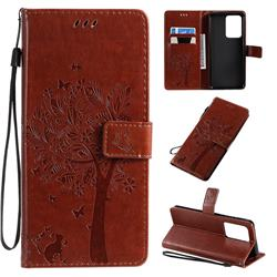 Embossing Butterfly Tree Leather Wallet Case for Samsung Galaxy S20 Ultra / S11 Plus - Coffee